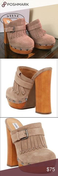 """Steve Madden suede wooden heel platform mule Beautiful and comfortable mule in taupe suede color. Almond toe, fringe detail with metallic studs, chunky wood heel. ~5.25"""" heel, 1"""" platform. Steve Madden Shoes Mules & Clogs"""