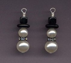 Swarovski Pearl Snowman Earrings with Gunmetal Rhinestone Collar | StyleKittie - Jewelry on ArtFire