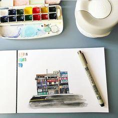 #watercolor #architecture buildings seoul #korea marinamuse @marinamusestudio graphic design #micron Seoul, Night Club, All In One, Korea, Watercolor, Graphic Design, Illustration, Instagram, Pen And Wash