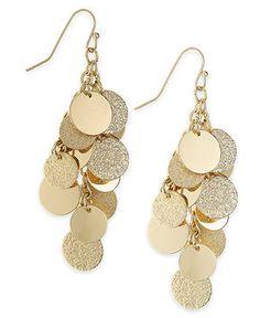 Charter Club Earrings, Gold-Tone Sandblast Cluster Drop Earrings - Fashion Earrings - Jewelry & Watches - Macy's