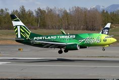 i haven't flown this but i've seen it cross over 205 near PDX... our very own Portland Timbers Alaska Airlines Boeing 737-790.