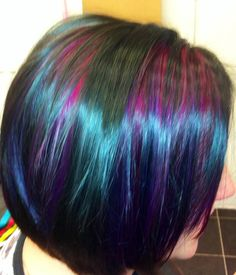 Shiny black bob with pink and purple slices :)