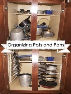 organizing pots and pans in your kitchen cabinets