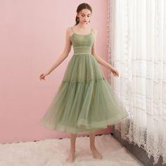 Cute green tulle short prom dress, green evening dress Silhouette: A-line Fabric: tulle Neck: round neck Back detail: lace-up *** Delivery times *** Processing time: working days Shipping time: working days - Online Store Powered by Storenvy Modest Dresses, Pretty Dresses, Sexy Dresses, Beautiful Dresses, Fashion Dresses, Unique Homecoming Dresses, Vintage Homecoming Dresses, Backless Dresses, Long Dresses