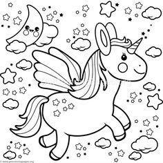 Flying Kawaii Unicorn Coloring Pages Summer Coloring Pages, Unicorn Coloring Pages, Animal Coloring Pages, Coloring Book Pages, Printable Coloring Pages, Coloring Pages For Kids, Coloring Sheets, Unicorn Stencil, Unicorn Themed Birthday