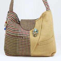 Ladies Wool Purse, Womens Recycled Wool Handbag, Blazer Handbag, Wool Shoulder Bag