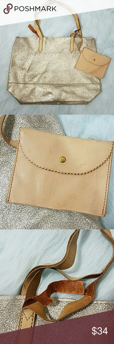 J. Crew metallic gold soft leather tote bag purse Preowned condition. Has some marks and stains on leather. Handles are separating near where they are connected to the bag, as pictured. J. Crew Bags Totes