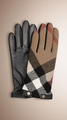 Check wool touch screen gloves with smooth leather palms and trim Embedded with micro-conductors for use with iPhones and other touch screen technology Soft cashmere lining