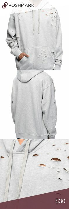 Thrashed Grey Wash Hoodie This is a super thick, super warm hoodie. Perfect for winter. The holes in it add a edgy look. Never been worn. Shirts Sweatshirts & Hoodies