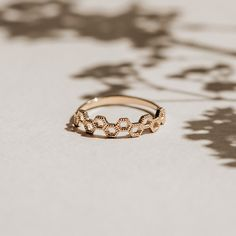 gold hexagonal honeycomb ring with mil-grain detailing completed by hand in canada. Dainty Gold Jewelry, Bee Jewelry, Jewellery, Or Rose, Rose Gold, Honeycomb Shape, Bee Ring, Hexagon Pattern, Stacking Rings