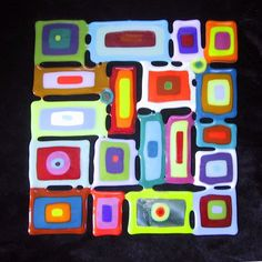 Fused Glass Tile Wall Hanging - crazy pop art | Fused Glass, Glass ...