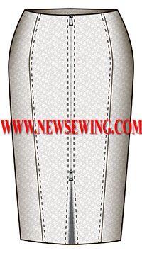 Выкройка юбки-карандаш с двумя рельефами и застежкой-молнией посередине переда обхват талии 78см обхват бедер 102см