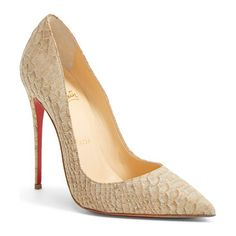 so kate pointy toe pump by Christian Louboutin. An iconic pointy-toe pump pushes the envelope with a dramatic snake-embossed finish that subtly e...