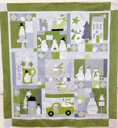 Snowmen quilt  #green #gray