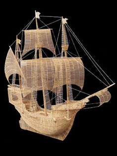 San Francisco Bay Area artist Scott Weaver is the stable hand behind this gorgeous 57 x 56 x galleon—a large, multidecked and multi-mast ship—replica made of just over toothpicks. Toothpick Sculpture, Toothpick Crafts, Popsicle Stick Art, Pick Art, Sculpture Projects, High School Art, Creative Artwork, Elementary Art, Ladies Day