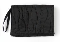 Ladies Handbag, Black Satin, Evening Bag, Quilted and Beaded £20.00
