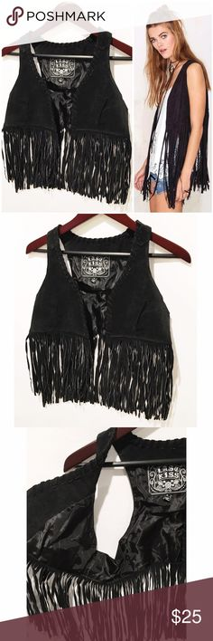 Boho Suede Fringe Vest 100% suede leather, never worn, excellent condition. Cropped length fringe vest, suede stitching detail throughout. Size medium but runs small. *Stock photo is from Nasty Gal and shows a similar style* Last Kiss Jackets & Coats Vests