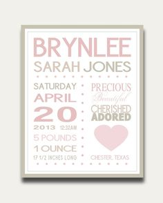 Birth Stats Announcement Wall Art Personalized Print Quote Custom Colors Nursery Decor Subway Baby Shower Gift
