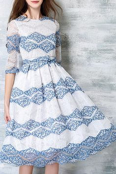 $ 42.99 White and Blue Lace Half Sleeves Dress