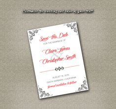 DIY Printable Wedding Save The Date PDF - Elegant Black Floral Damask (Your Choice in Colors!) on Etsy, $12.00