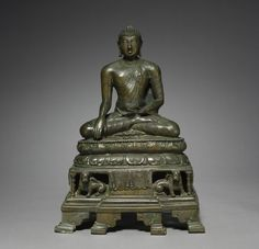 Akshobhya: the Buddha of the East, late 800s, Northeast India, Bihar, Kurkihar, Pala Period, 9th century, bronze with silver and copper inlay, Overall - h:38.75 w:26.25 cm (h:15 1/4 w:10 5/16 inches).