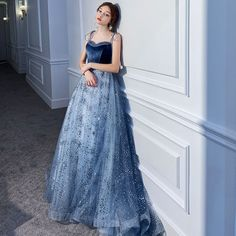 Chic / Beautiful Ocean Blue Evening Dresses 2020 A-Line / Princess Spaghetti Straps Sleeveless Beading Glitter Sequins Tulle Sweep Train Ruffle Backless Formal Dresses Beautiful Ocean Blue Evening Dresses . Blue Evening Dresses, Prom Dresses, Formal Dresses, Tulle, Beautiful Ocean, Gowns Of Elegance, Luxury Dress, Chic, New Dress