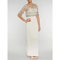 Buy Gina Bacconi Crepe Maxi Dress With Vintage Beaded Top, Pewter from our Wedding Dresses range at John Lewis & Partners. Beaded Top, Vintage Floral, Formal Dresses, Wedding Dresses, To My Daughter, High Waisted Skirt, Sequins, Two Piece Skirt Set, Feminine