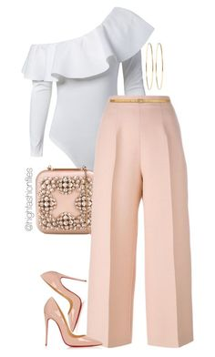 Untitled #2737 by highfashionfiles on Polyvore featuring Manolo Blahnik, Fendi, Christian Louboutin, Yves Saint Laurent and Jennifer Meyer Jewelry