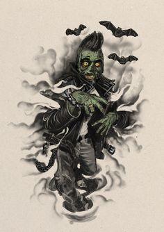psychobilly zombie illustration bu Qudlathy