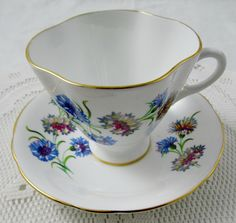 Vintage Tea Cup and Saucer by Windsor, Square Shape, Cornflower Pattern, English Bone China