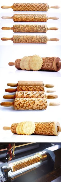 New Laser Engraved Rolling Pins by Valek Imprint Elaborate Designs on Baked Goods www. Source by aurelia_ducrocq. Laser Cutter Ideas, Laser Cutter Projects, Engraving Art, Laser Engraving, Engraving Ideas, Gravure Laser, Wood Tools, Cookies Et Biscuits, Kitchen Gadgets