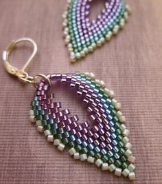 Peacock Feather Earrings in Blue Purple Green Seed Beads. $24.00, via Etsy.