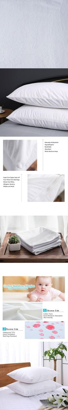 "King  21*37""  Zippered Terry Coating TPU Waterproof Pillow Protector/Waterproof  Pillowcase/Pillow Cover"