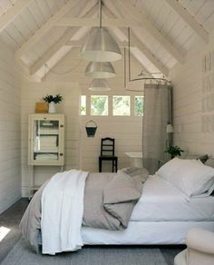Attic Bedroom Lighting and Attic Interior Living Room. Attic Renovation, Attic Remodel, House Ideas, Shed Homes, Tiny Spaces, Tiny Apartments, My New Room, Play Houses, Cob Houses