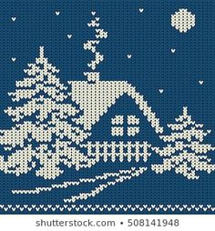 123 Cross Stitch, Cross Stitch House, Cross Stitch Patterns, Holiday Sweater, Christmas Sweaters, Favorite Christmas Songs, Christmas Knitting Patterns, Knit Pillow, Red Pattern