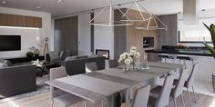 Projekt domu HomeKoncept-26 165,36 m2 - koszt budowy - EXTRADOM House Extensions, Bungalow, House Plans, Conference Room, House Design, Modern, Kitchen, Furniture, Color
