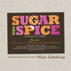 Baby Shower Invitation  sugar and spice  baby by miragreetings, $14.00