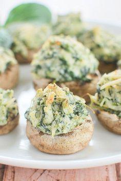 Spinach and Artichoke Stuffed Mushrooms #spinach #artichoke #mushrooms