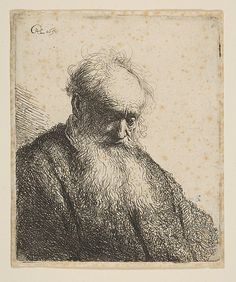 Bust of an Old Man with Flowing Beard: the Head Inclined Three-Quarters Right Rembrandt (Rembrandt van Rijn)  (Dutch, Leiden 1606–1669 Amsterdam) Date: 1630 Medium: Etching Classification: Prints Credit Line: Bequest of Julie Parsons Redmond, 1960 Accession Number: 60.534.30