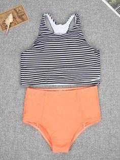 Stripes Bikini Top and High Waist Bottom Two Piece Suit - WealFeel
