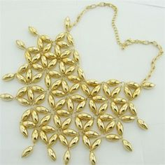 Flowers Cluster Golden Bling Chunky Short Fashion Necklace