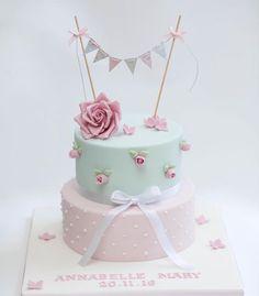 Super Birthday Cake For Women Shabby Chic Ideas Girls First Birthday Cake, Baby Birthday Cakes, Birthday Cakes For Women, Torta Baby Shower, Baby Shower Cupcakes, Baby Shower Cake For Girls, Shower Baby, Baby Girl Christening Cake, Baby Girl Cakes
