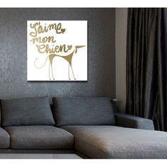 "Brayden Studio 'Mon Chien' Graphic Art on Wrapped Canvas Size: 12"" H x 12""W x 1.5"" D"