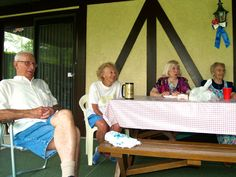 The almost 90 family club at my Aunt Margie's July 4th picnic....Uncle Charlie, Aunt Margie, Aunt Ellie, and mom!