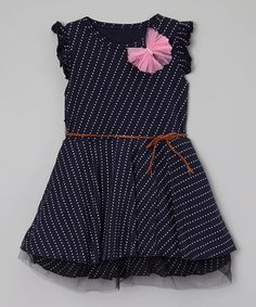 Another great find on #zulily! Mommy's Little Peanut Navy Blue & White Polka Dot Dress - Toddler & Girls by Mommy's Little Peanut #zulilyfinds