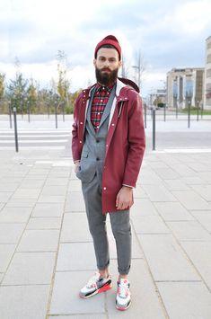· Jacket Stutterheim · Suit Sandro ` · Shirt Ralph Lauren · Sneakers AM90 Infrared