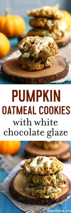 Pumpkin oatmeal cookies are chewy and delicious and topped with a sweet white chocolate glaze —MUST MAKE- Source by theprettybee Gluten Free Cookie Recipes, Allergy Free Recipes, Gluten Free Pumpkin, Pumpkin Recipes, Fall Recipes, Whole Food Recipes, Vegan Recipes, Healthy Pumpkin, Holiday Recipes