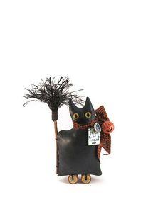 Black Cat, Halloween Decor, Cat Shelf Sitter, Primitive, Orange and Black, Pumpkin, Jingle Bell, Black Broom, Wood Spools, Halloween, Yellow