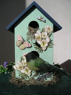 decorative birdhouses | Handpainted Indoor Decorative Birdhouse with Flowers, Butterflies and ...