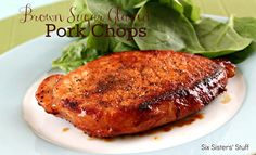 Brown Sugar Glazed Pork Chops Recipe | Six Sisters' Stuff. I used bone in pork chops, doubled the rub and cooked in the crockpot. A new family favorite!
